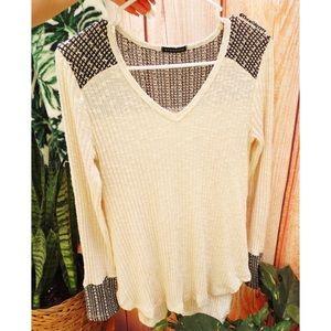 Lightweight cuffed sleeve thermal knit 🌜